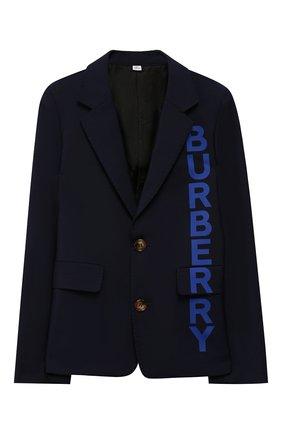 Детский шерстяной пиджак BURBERRY темно-синего цвета, арт. 8022412 | Фото 1
