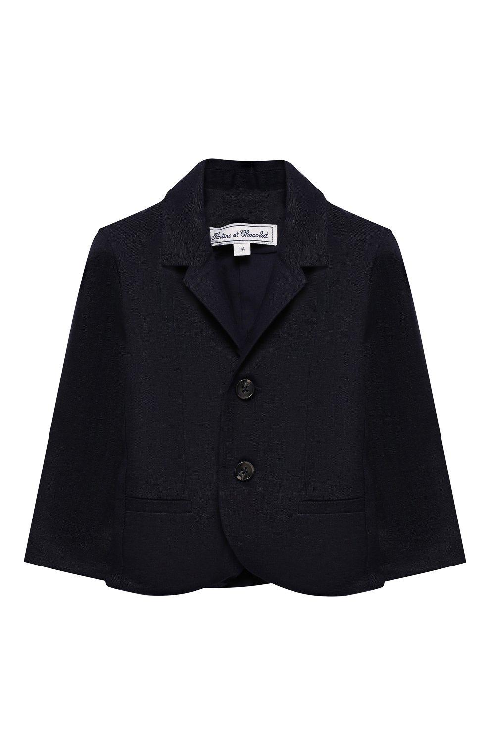 Детский льняной пиджак TARTINE ET CHOCOLAT синего цвета, арт. TQ40041/1M-1A   Фото 1
