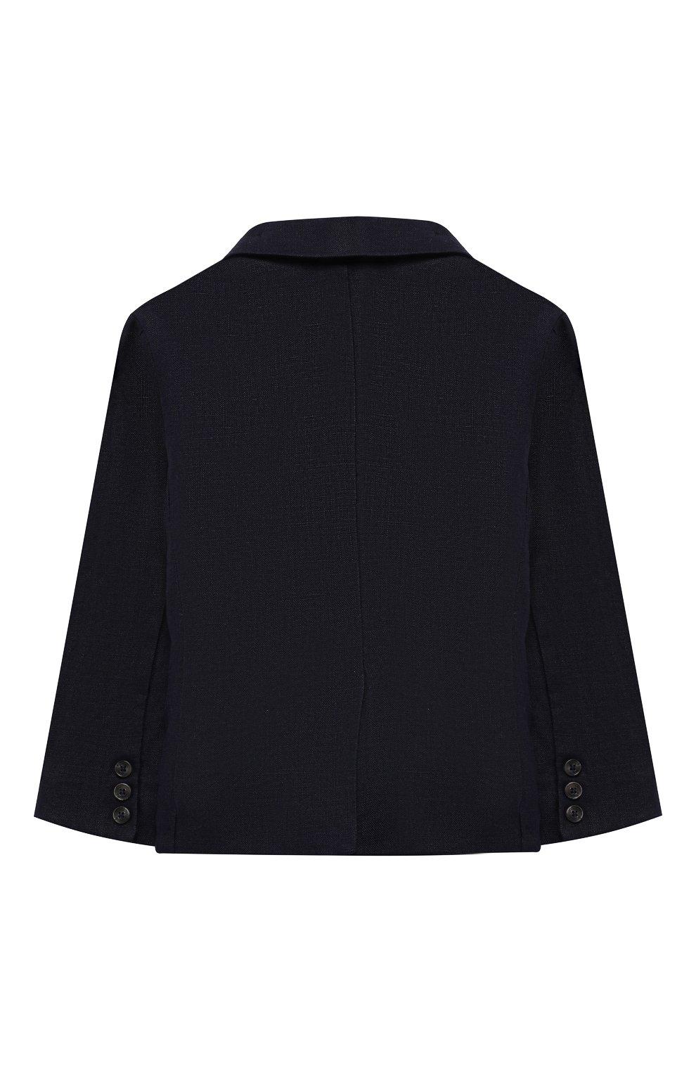 Детский льняной пиджак TARTINE ET CHOCOLAT синего цвета, арт. TQ40041/1M-1A   Фото 2