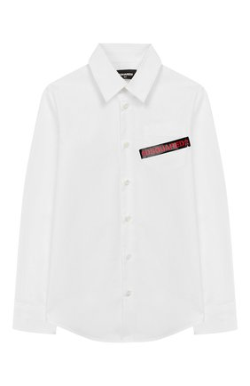 Детская хлопковая рубашка DSQUARED2 белого цвета, арт. DQ03W1-D00XE | Фото 1