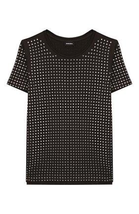 Детская хлопковая футболка DIESEL хаки цвета, арт. 00J4SZ-KYAP7 | Фото 1