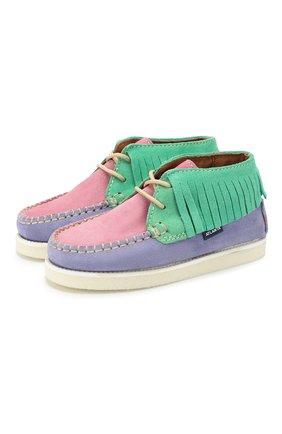 Детские замшевые ботинки ATLANTA MOCASSIN разноцветного цвета, арт. 9AT4AC074RZSBJ/28-34   Фото 1 (Материал внутренний: Натуральная кожа)