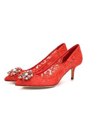 Женские текстильные туфли rainbow lace DOLCE & GABBANA кораллового цвета, арт. 0112/CD0066/AL198 | Фото 1 (Материал внешний: Текстиль; Материал внутренний: Натуральная кожа; Каблук высота: Низкий, Средний; Каблук тип: Kitten heel; Подошва: Плоская; Статус проверки: Проверена категория)