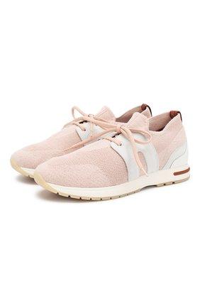 Женские комбинированные кроссовки 360 lp walk LORO PIANA светло-розового цвета, арт. FAI1590 | Фото 1