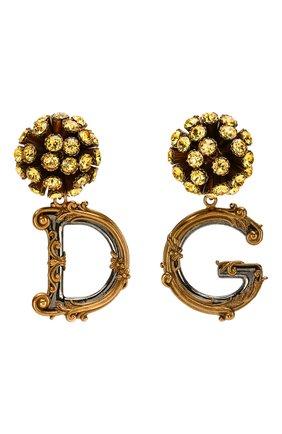 Женские клипсы DOLCE & GABBANA золотого цвета, арт. WEL6G1/W1111 | Фото 1