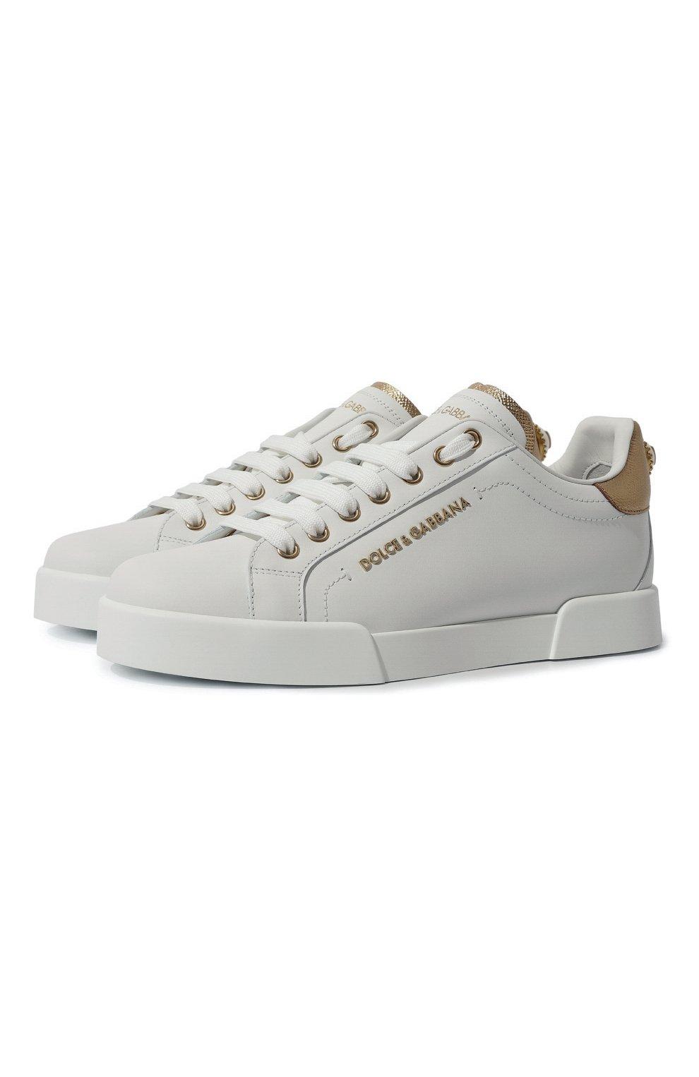 Женские кожаные кеды portofino DOLCE & GABBANA белого цвета, арт. CK1602/AN298   Фото 1