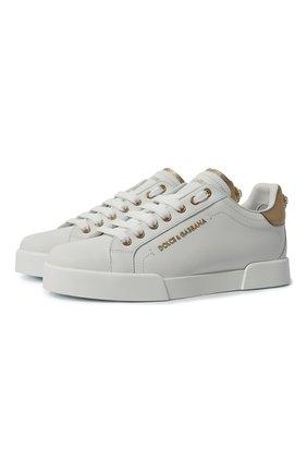 Женские кожаные кеды portofino DOLCE & GABBANA белого цвета, арт. CK1602/AN298 | Фото 1
