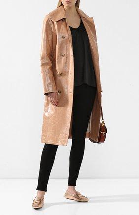 Женские кожаные мокасины TOD'S золотого цвета, арт. XXW00G00010WEL | Фото 2