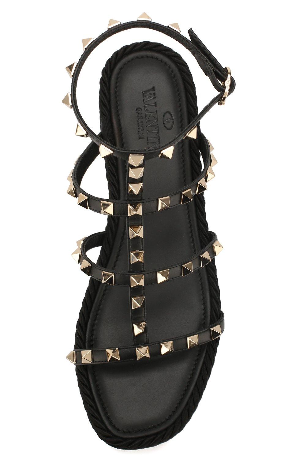 Женские кожаные сандалии valentino garavani rockstud VALENTINO черного цвета, арт. TW2S0V47/BAE | Фото 5
