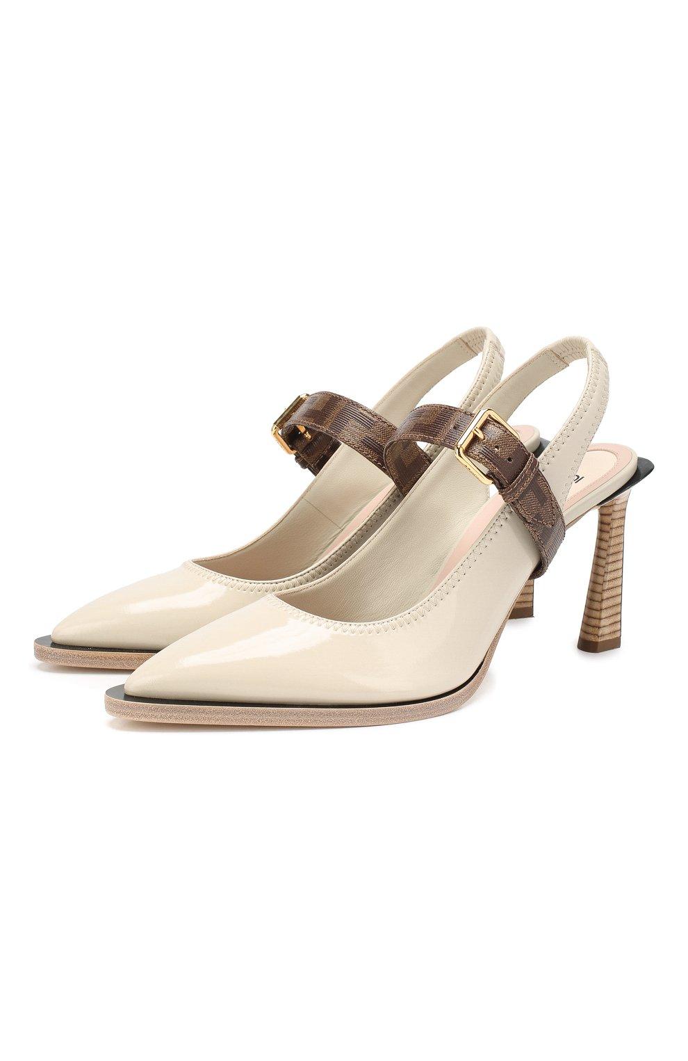 Женские туфли FENDI светло-серого цвета, арт. 8J7017 A8TW | Фото 1