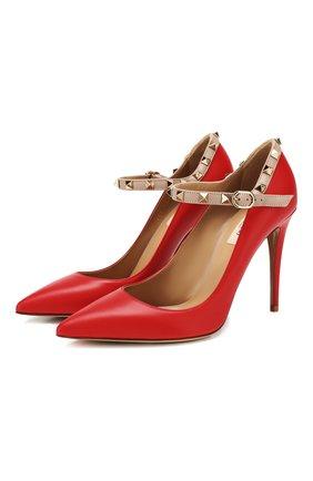 Женская кожаные туфли valentino garavani rockstud VALENTINO красного цвета, арт. TW2S0T04/V0D | Фото 1