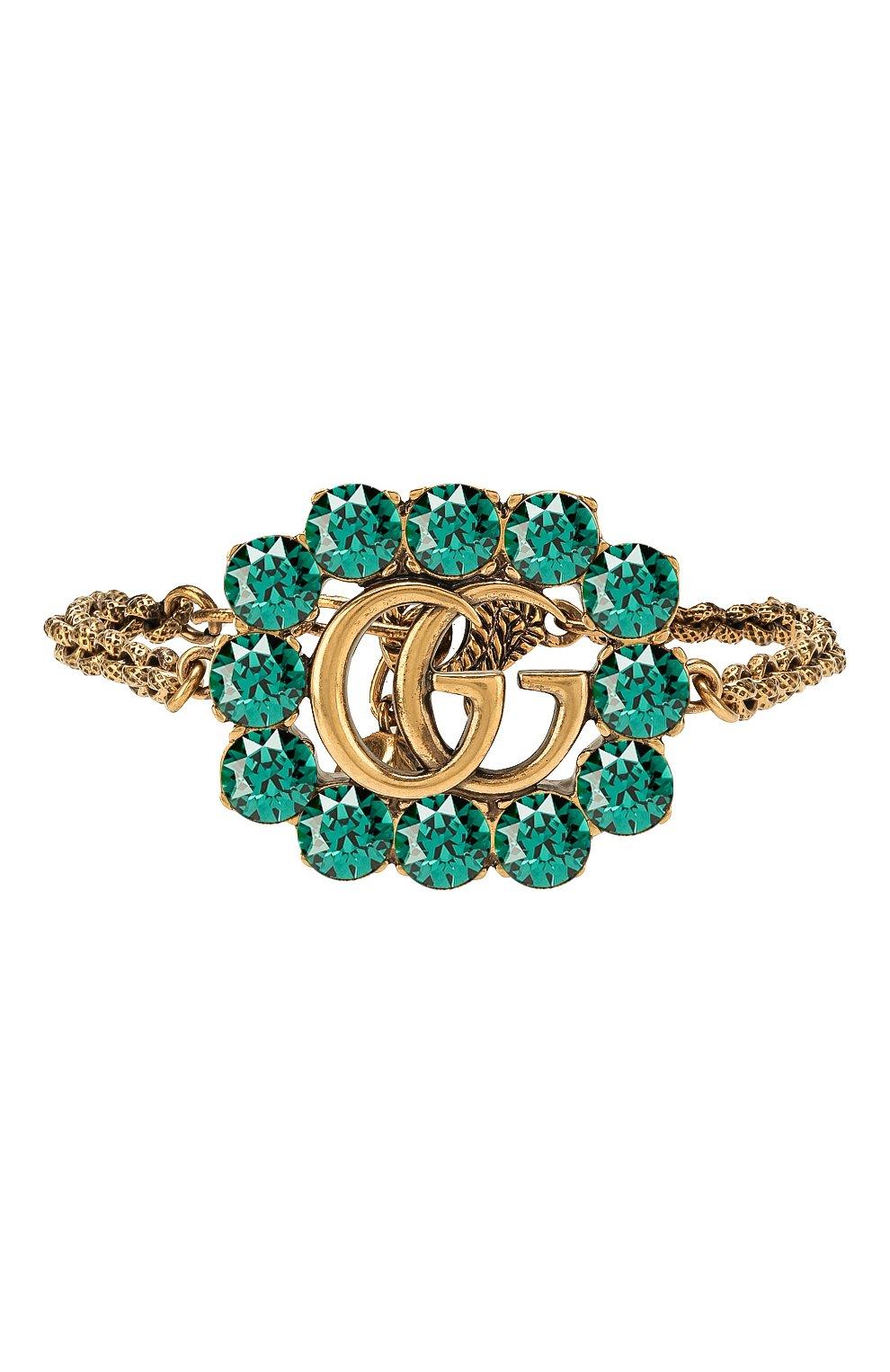 Женский браслет GUCCI зеленого цвета, арт. 605881/I4769   Фото 1