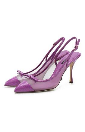 Женская комбинированные туфли DOLCE & GABBANA фиолетового цвета, арт. CG0400/AX047 | Фото 1