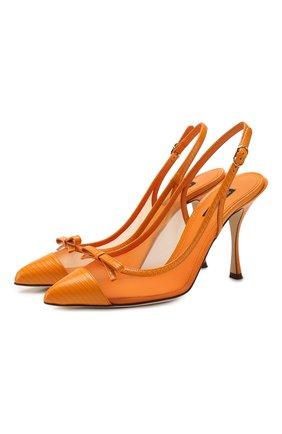 Женская комбинированные туфли DOLCE & GABBANA оранжевого цвета, арт. CG0400/AX047 | Фото 1