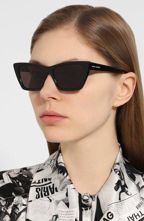 Женские солнцезащитные очки SAINT LAURENT черного цвета, арт. SL 276 MICA 001 | Фото 2