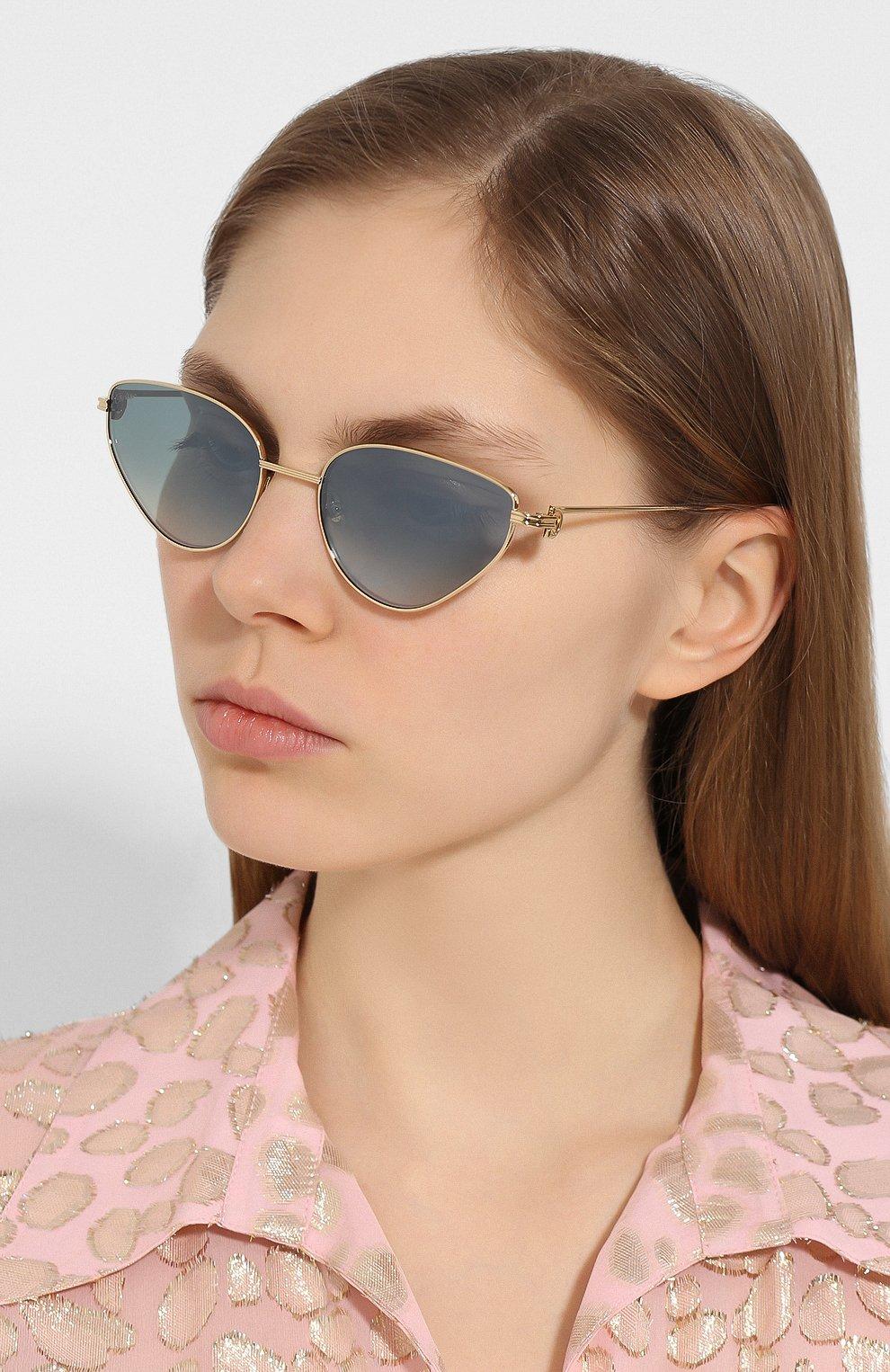 Женские солнцезащитные очки CARTIER голубого цвета, арт. CT0155 005 | Фото 2
