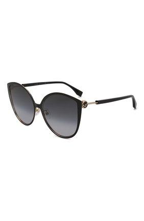 Мужские солнцезащитные очки FENDI черного цвета, арт. 0395/F 2M2 | Фото 1