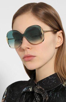 Женские солнцезащитные очки CHLOÉ изумрудного цвета, арт. 162S-838 | Фото 2
