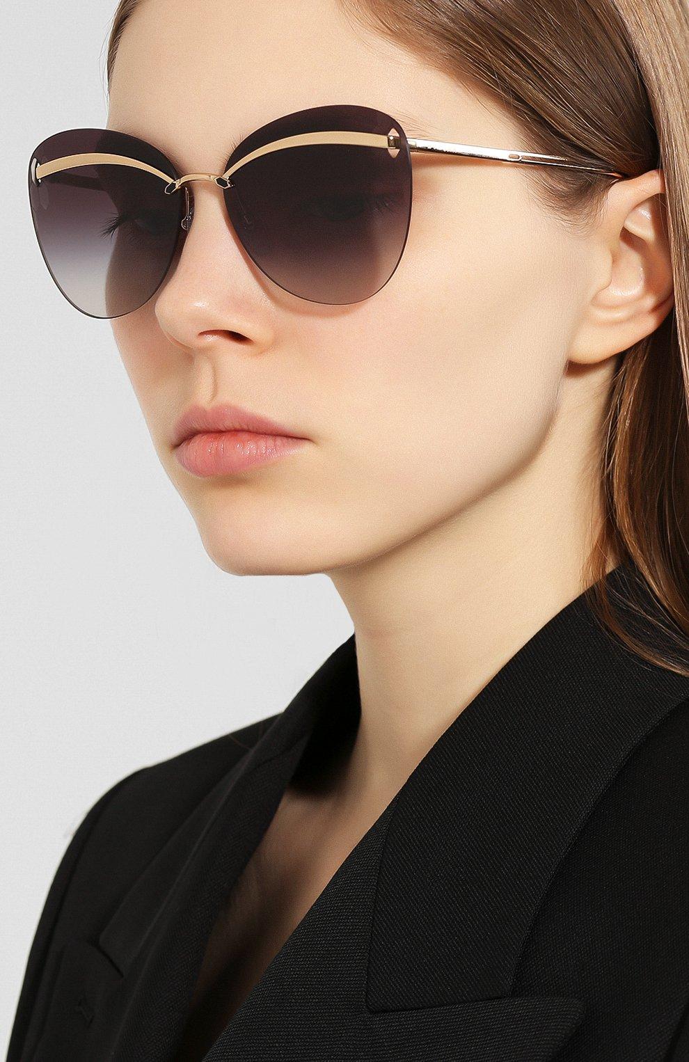 Женские солнцезащитные очки BVLGARI черного цвета, арт. 6130-20148G | Фото 2