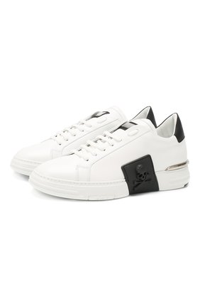 Мужские кожаные кеды PHILIPP PLEIN черно-белого цвета, арт. S20S MSC2732 PLE075N | Фото 1