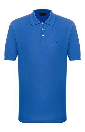 Мужское хлопковое поло ZEGNA COUTURE синего цвета, арт. CSC96/C32 | Фото 1