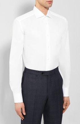 Мужская хлопковая сорочка ZEGNA COUTURE белого цвета, арт. 702063/9NS0LB | Фото 3