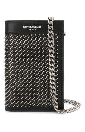 Мужской кожаное портмоне SAINT LAURENT черного цвета, арт. 606928/0VGUE | Фото 1