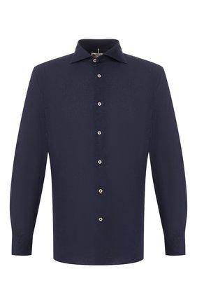 Мужская рубашка из смеси льна и хлопка LUIGI BORRELLI темно-синего цвета, арт. EV08/NAND0/TS9029   Фото 1
