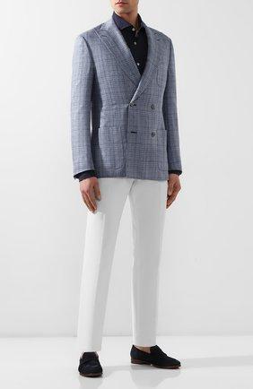 Мужская рубашка из смеси льна и хлопка LUIGI BORRELLI темно-синего цвета, арт. EV08/NAND0/TS9029   Фото 2