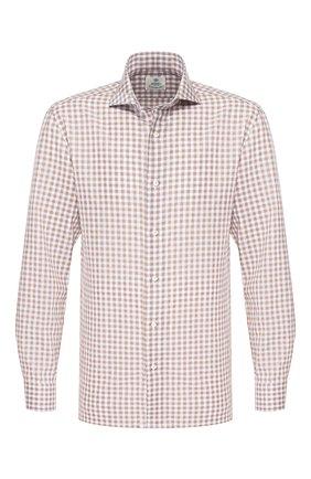 Мужская рубашка из смеси льна и хлопка LUIGI BORRELLI светло-коричневого цвета, арт. EV08/FELICE/TS9046   Фото 1