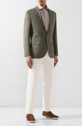 Мужская рубашка из смеси льна и хлопка LUIGI BORRELLI светло-коричневого цвета, арт. EV08/FELICE/TS9046   Фото 2