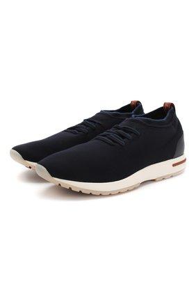 Мужские текстильные кроссовки 360 lp flexy walk LORO PIANA темно-синего цвета, арт. FAL0944 | Фото 1