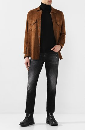 Мужская замшевая рубашка GIORGIO BRATO коричневого цвета, арт. GU20S9018SUED | Фото 2