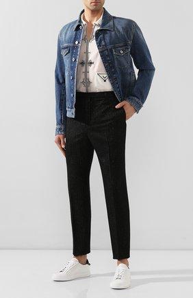 Мужской шерстяные брюки SAINT LAURENT черного цвета, арт. 596927/Y1A89 | Фото 2