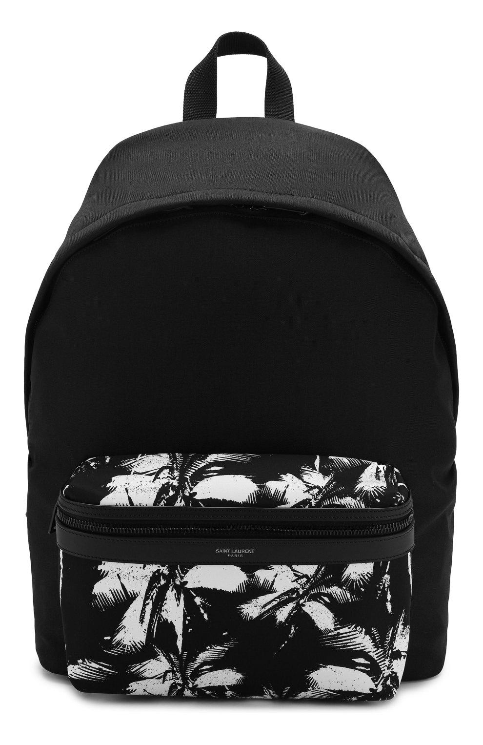 Мужской текстильный рюкзак city SAINT LAURENT черно-белого цвета, арт. 534967/9W0DU   Фото 1