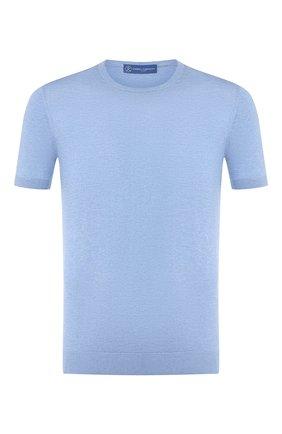 Мужской шелковый джемпер ANDREA CAMPAGNA голубого цвета, арт. 43112/23503 | Фото 1