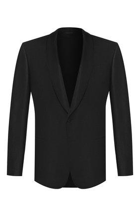 Мужской пиджак из смеси шелка и шерсти GIORGIO ARMANI черного цвета, арт. 0SGGG0EC/T01K6 | Фото 1