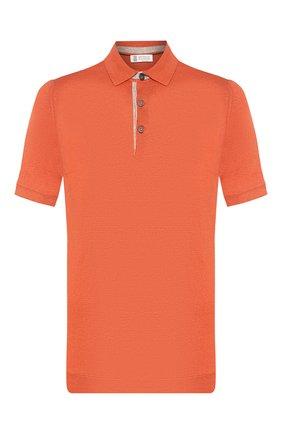 Мужское поло из смеси льна и хлопка BRUNELLO CUCINELLI оранжевого цвета, арт. M2L00295 | Фото 1