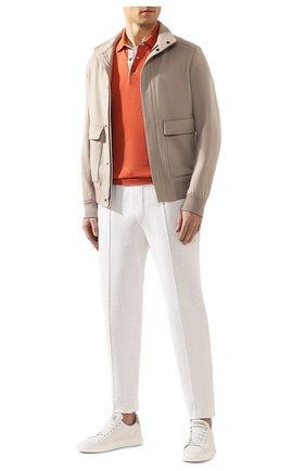 Мужское поло из смеси льна и хлопка BRUNELLO CUCINELLI оранжевого цвета, арт. M2L00295 | Фото 2