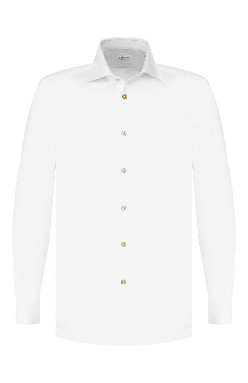 Мужская хлопковая сорочка KITON белого цвета, арт. UCIH0660501 | Фото 1
