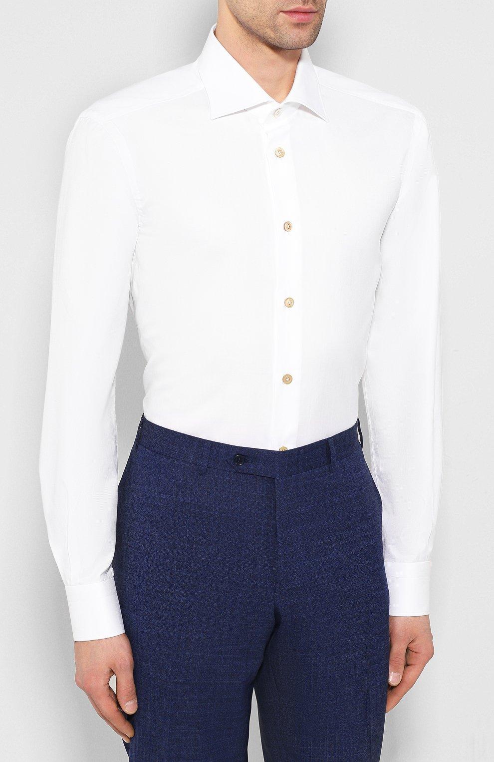 Мужская хлопковая сорочка KITON белого цвета, арт. UCIH0660501 | Фото 3