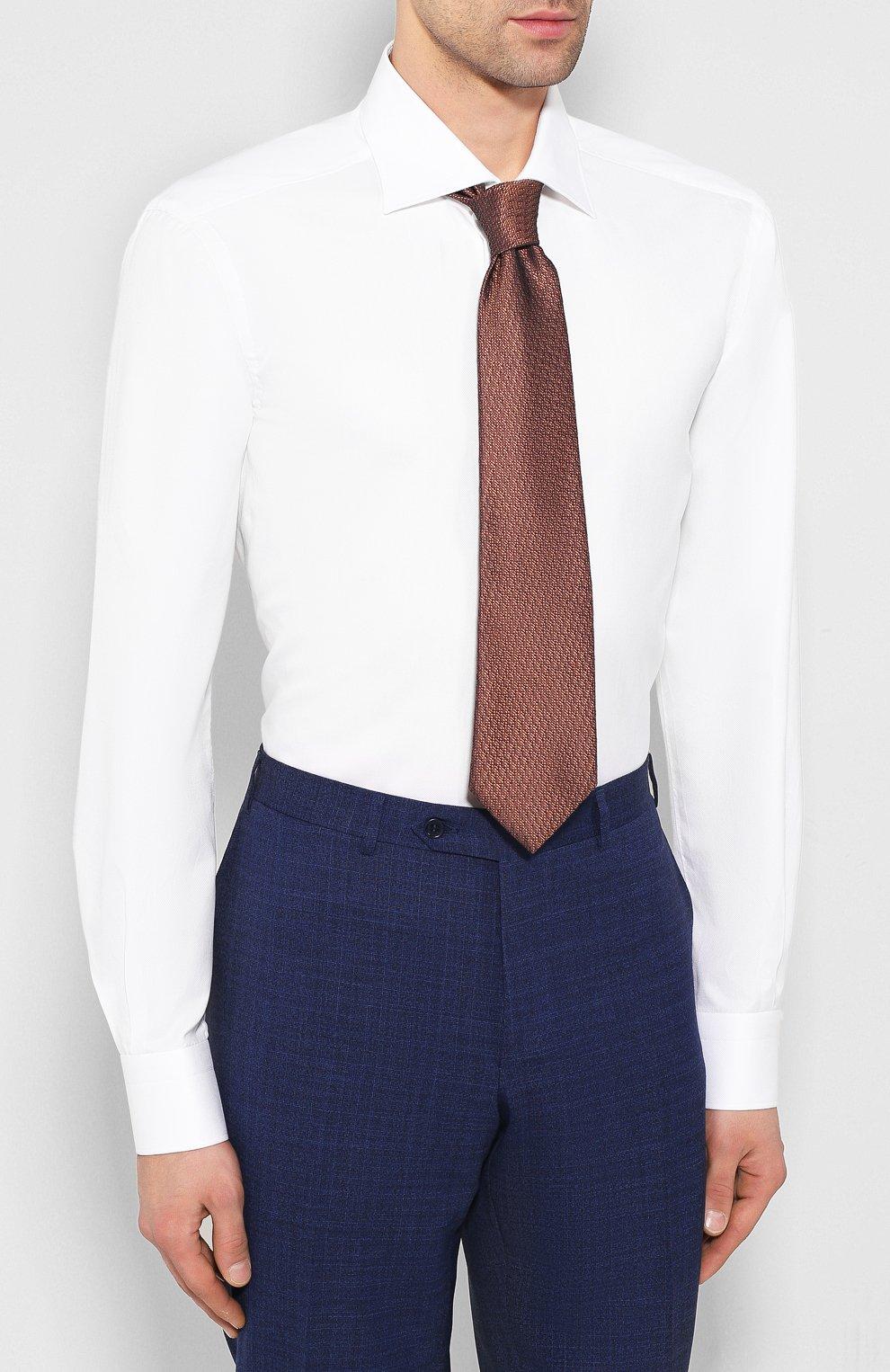 Мужская хлопковая сорочка KITON белого цвета, арт. UCIH0660501 | Фото 4