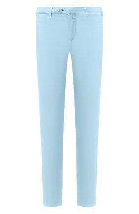 Мужские брюки из смеси хлопка и шелка KITON голубого цвета, арт. UFPP79J07S49   Фото 1