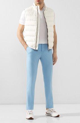 Мужские брюки из смеси хлопка и шелка KITON голубого цвета, арт. UFPP79J07S49   Фото 2