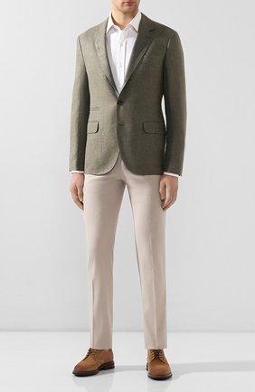 Мужские брюки из смеси хлопка и шелка KITON бежевого цвета, арт. UFPP79J07S49 | Фото 2