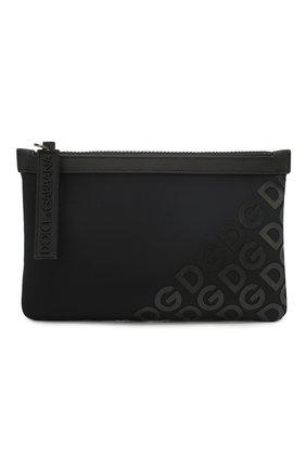 Мужская текстильная поясная сумка logo millennials DOLCE & GABBANA черного цвета, арт. BM1730/AJ772 | Фото 1