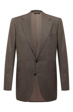 Мужской пиджак из смеси шерсти и шелка TOM FORD коричневого цвета, арт. 732R13/11A740 | Фото 1