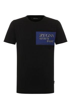 Мужская хлопковая футболка Z ZEGNA черного цвета, арт. VU372/ZZ630P | Фото 1