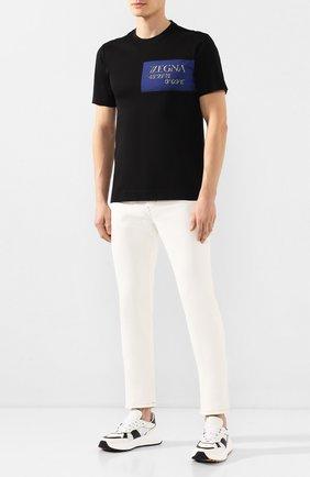 Мужская хлопковая футболка Z ZEGNA черного цвета, арт. VU372/ZZ630P | Фото 2