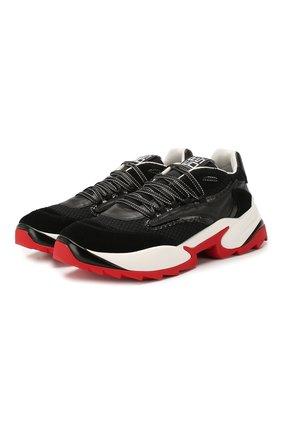 Мужские комбинированные кроссовки SERGIO ROSSI черного цвета, арт. A87740-MFN732 | Фото 1